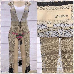 a'reve Black & Cream Crochet Cover Up Cardi S/M